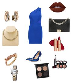 """Cocktail party"" by itaayu on Polyvore featuring Halston Heritage, Manolo Blahnik, Chanel, Cartier, Laura Geller, MAC Cosmetics and Lime Crime"