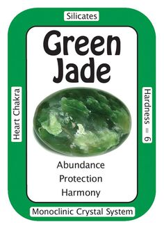 "Crystal Card of the Day: Green Jade, ""My relationships are filled with harmony and good fortune."" Green Jade is considered a stone of abundance, helping one to make a greater connection with the..."