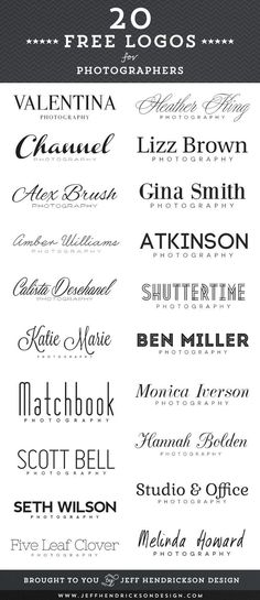 20 free photographer logos using free fonts.  #free #psd #photoshop #templates for #photography