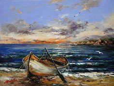 Canvas Painting Landscape, Seascape Paintings, Acrylic Painting Canvas, Landscape Art, Sailboat Art, Sailboat Painting, Nautical Art, Am Meer, Art Oil