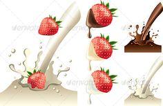 Strawberry in Milk and Chololate Splash ...  abstract, background, chocolate, clip-art, closeup, cooking, cream, design, dessert, drink, eps10, food, fruit, healthy, illustration, isolated, liquid, milk, motion, photo-realistic, set, splash, splashing, spray, strawberry, sweet, vector, wave, yogurt