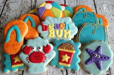 One Dozen (12) Summer / Beach Themed Decorated Sugar Cookies by Dolce Desserts on Etsy