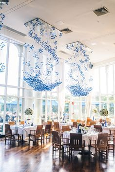 Event Ideas: We're loving these custom crane chandeliers at this private event. If you don't know this already, we're obsessed with origami.