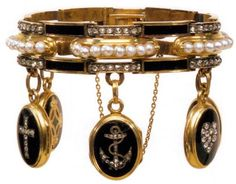 English enamel and pearl charm bracelet, late 19th century.