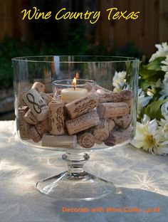 Another great use for wine corks: Decorative wine cork candle!