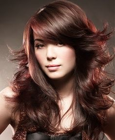 Hair Highlights, Hairstyle Highlights for Brown Hair Hair Color Ideas 2011 Her long dark layered hair. Hairstyles With Bangs, Hairstyle Ideas, Gorgeous Hairstyles, Messy Hairstyle, Hair Ideas, Trendy Hairstyles, Cropped Hairstyles, Volume Hairstyles, Brunette Hairstyles