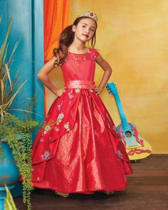 The Ultimate Collection Disney Elena Of Avalor Costume For Girls - exclusively ours - Welcome to your rightful role as the Crowned Princess of Avalor. Wear a lavishly detailed gown worthy of your royal position. Adorned with sparkly blossoms, this richly colored style features a sweetheart illusion neckline, full skirt with sequins that catch the light, and split-front, pleated overskirt.