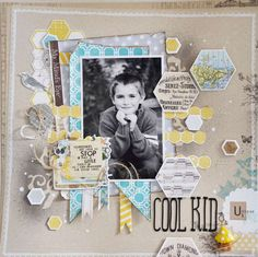 Layout: Cool Kid * My Little Bit of Whimsy * Kids Scrapbook, Scrapbook Journal, Scrapbook Sketches, Scrapbook Page Layouts, Scrapbook Paper Crafts, Scrapbook Cards, Scrapbooking Ideas, Photo Layouts, Craft Projects