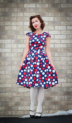 96b91407b2279 Discover this look wearing Polka Dot Lilac Cove Boutique Dresses, Modcloth  Tights, Modcloth Heels - Fancy Frock by HaveClothesWillTrave styled for  Retro, ...