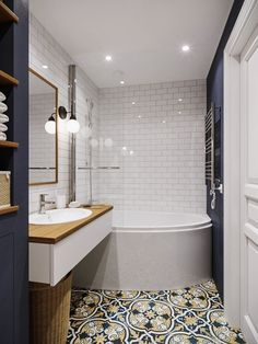 Most Popular Small Bathroom Remodel Ideas on a Budget in 2018 This beautiful look was created with cool colors, and a change of layout. Home Interior, Bathroom Interior, Modern Bathroom, Small Bathroom, Master Bathroom, Zebra Bathroom, Target Bathroom, 1950s Bathroom, Half Bathrooms