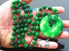 Free Shipping  hand carved Natural green jade  prayer by jadeGift, $26.99