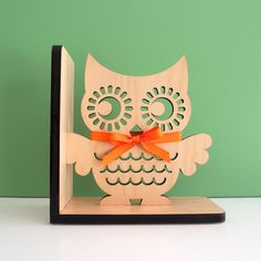 Owl Bookend Wood Modern Baby Nursery Children by graphicspaceswood, $48.00
