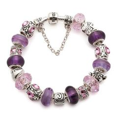 Pandora charm bracelets are the perfect way for you to express yourself, and there is so much choice. Discover new charms and Pandora charm bracelet ideas. Pandora Beads, Pandora Bracelet Charms, Pandora Jewelry, Pandora Rings, Charm Jewelry, Purple Jewelry, Girls Jewelry, Love Bracelets, Beaded Bracelets