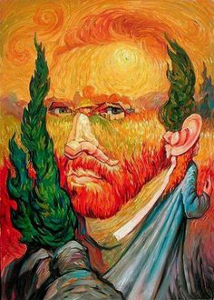 Van Gogh-ing, Going, Gone ~ Optical Illusion Oil Painting by Oleg Shuplyak) Optical Illusion Paintings, Amazing Optical Illusions, Illusion Pictures, Hidden Images, Illusion Art, Illusion Drawings, Art Graphique, Surreal Art, Surreal Portraits