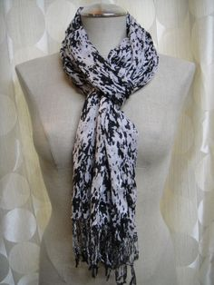 Unique black and white abstract, lightweight scarf.