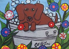 Red Dachshund in the Washtub Puppy Hotdog Bath Time Weiner Dog ACEO ATC Animal Pop Art Print Poster Art Ellison