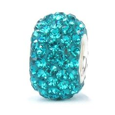 Blue Zircon / Teal Crystal Pave Bead - December Birthstone - Solid .925 Sterling Silver Core European Charm Bead Made with Authentic Swarovski Crystals - Compatible Brand Bracelets : Authentic Pandora, Chamilia, Moress, Troll, Ohm, Zable, Biagi, Kay's Charmed Memories, Kohl's, Persona & more!