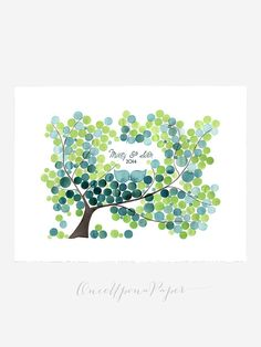 Watercolor Guest Book Tree Alternative Print - 200 orbs Large Poster bridal…