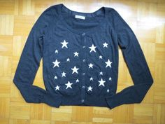 Garage Cardigan Sweater Button Down Stars Long Sleeve Large Dark Gray White  #Garage #Cardigan