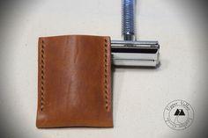 Leather Razor Cover Leather Razor Sheath Travel Case Safety Razor Dublin English Tan Leather Made in USA