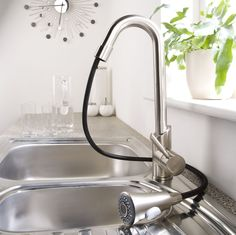 Brushed Nickel Plated Pull Out Kitchen Faucet