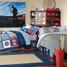 Boys Sports Bedroom big boy sports themed room. i like the basketball hoop over the