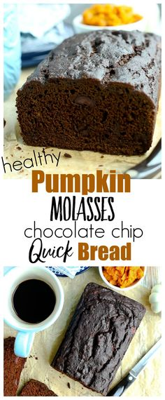 Pumpkin Molasses Quickbread with chocolate chips recipe. Perfect for fall and winter weather--this is a healthy recipe that is great for breakfast, snack, or dessert. Whole grains and no refined sugar Fall Dessert Recipes, Healthy Desserts, Delicious Desserts, Yummy Food, Fall Recipes, Good Healthy Recipes, Healthy Baking, Eating Healthy, Yummy Recipes