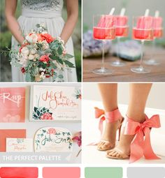 wedding color palette in coral with shades of green and gray Creative Wedding Ideas, Cute Wedding Ideas, Wedding Themes, Wedding Decorations, Wedding Inspiration, Wedding Dresses, Summer Wedding, Our Wedding, Dream Wedding