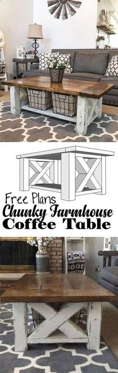 Plans of Woodworking Diy Projects - How TO : Build a DIY Coffee Table - Chunky Farmhouse - Woodworking Plans Get A Lifetime Of Project Ideas & Inspiration!