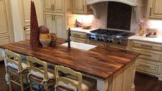 Reclaimed Wood Counter, Reclaimed Timber, Hardwood Countertops, Kitchen Countertops, Kitchen Cabinets, Distressed Kitchen, Rustic Kitchen, Kitchen Island With Granite Top, Kitchen Islands