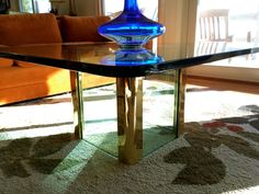 Beautiful Pace Collection Coffee Table Mid Century Hollywood Regency Glass and Brass Modern Home by OffCenterModern on Etsy