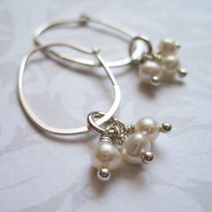 Hoop Earrings  WHITE Fresh Water Pearl Cluster by lulidesigns, $24.00