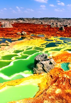 The otherworldly landscape of Dallol. The colors change due to the variable oxidation of inorganic iron. Image Credit: By Kotopoulou Electra – Own work, CC BY-SA Ethiopia Travel, Africa Travel, Underwater Photography, Landscape Photography, Underwater Photos, Film Photography, Fashion Photography, Holiday Photography, Wedding Photography