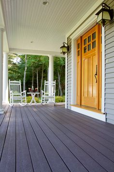 Enhance your wood's natural patterns while providing increased protection from the elements. Porch: BEHR PREMIUM Semi-Transparent Weatherproofing All-In-One Wood Stain & Sealer in Bordeaux Wood Sealer, Wood Stain, Deck Over Paint, Best Deck Sealer, Cool Deck, Cottages By The Sea, Covered Decks, Building A Deck, Outdoor Living Areas