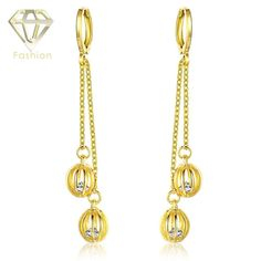 Long Bridal Earrings New Arrival /Rose Gold Color Hanging Double Hollow-out Balls Earrings Cute Jewelry for Girls Women