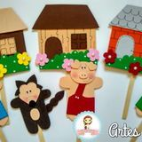 Elo7 | Produtos Fora de Série Paper Crafts For Kids, Book Crafts, Arts And Crafts, School Projects, Projects For Kids, Felt Board Stories, Sock Dolls, Three Little Pigs, General Crafts