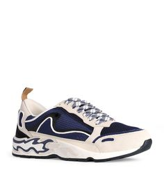 SANDRO FLAME SNEAKERS. #sandro #shoes Blue Trainers, Blue Flames, Sandro, Signature Style, Shoe Game, Harrods, World Of Fashion, Luxury Branding, Shoes Sneakers