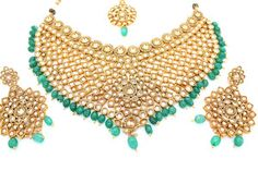 Antique Gold Champagne Gold Indian Bollywood Heavy Necklace Earring Tikka Set Jewellery Set