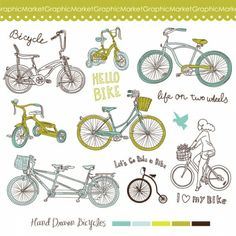 14 Hand Drawn Vintage Bicycles digital clipart set - bike with a basket, retro bikes, hand drawn cute doodle girl, lovely text embellishments - perfect for Clipart, Retro Bicycle, Vintage Bicycles, Bicycle Clips, Bicycle Party, Doodle Girl, Party Favor Tags, Cute Doodles, Elements Of Art