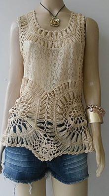 Hairpin lace top. Use fabric for middle?.como fazer as roupas de croche passo a passo
