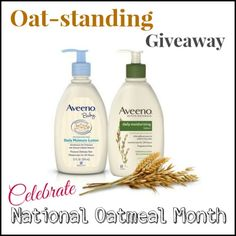 Enter to win an Oat - Standing Giveaway! Five winners will receive both the AVEENO Daily Moisturizing Lotion and AVEENO Baby Daily Moisture Lotion