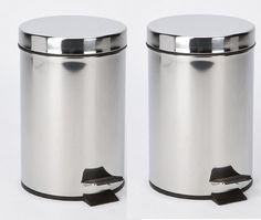 2 X 3 Litre Stainless Steel Cosmetic Pedal Bin Bathroom Waste Bins Home Office