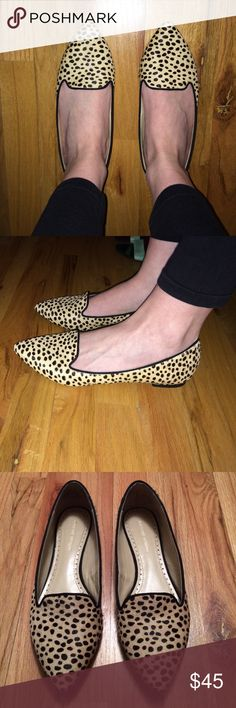 """Adrienne Vittadini Benson calf hair cheetah flats Adrienne Vittadini """"Benson"""" genuine leather & real calf hair point toe flats. A super cute find! Only worn a handful of times. All the calf hair is in perfect condition 💛🖤! Very clean shoes. EUC. Looks great with every outfit, and you will get many compliments 😄. They were $119 new. Listing price is firm. Adrienne Vittadini Shoes Flats & Loafers"""