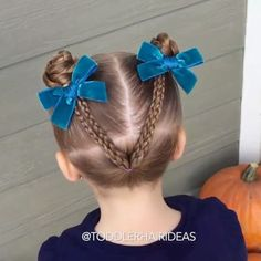 [-VIDEO TUTORIAL-] A backside braided V up to braided piggy buns. People complimented Viv on this one left and right! Can't wait to see your recreation! {Bows from @labellebaby. Braided V inspired by @easytoddlerhairstyles.}