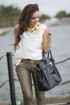 Gold sequined detachable collar - $35.00