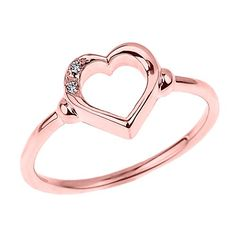 Promise Rings Simple | Fine 10k Rose Gold Dainty Band 2Stone Diamond Open Heart Ring Size 75 ** Click image for more details. Note:It is Affiliate Link to Amazon.