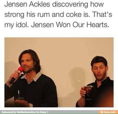 Jared Padalecki and Jensen Ackles Jensen Ackles, Jared And Jensen, Destiel, Johnlock, Jared Padalecki, Misha Collins, Bae, And So It Begins, Supernatural Memes