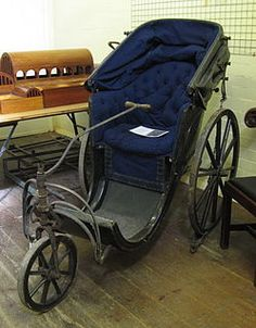 A bath chair—or Bath chair—was a rolling chaise or light carriage for one person with a folding hood, which could be open or closed. Used especially by disabled persons, Originated in Bath, England, hence the name. Could be drawn by pony or Old Fashioned Bathtub, Historical Fiction Authors, Steampunk Pirate, Museum Store, Medical Design, British History, Dieselpunk, Historical Clothing, Disability