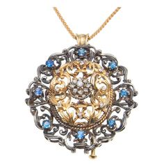 Gold And Silver Victorian Revival Diamond And Sapphire Pin Pendant | From a unique collection of vintage more necklaces at http://www.1stdibs.com/jewelry/necklaces/more-necklaces/