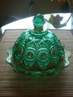 Emerald Green with Gold Vintage Glass Candy Dish